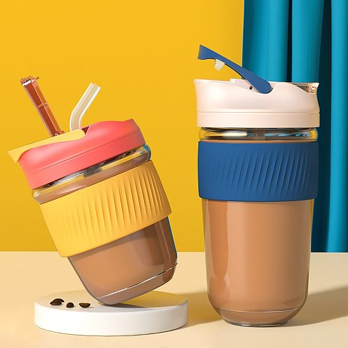 New Fashion Travel Coffee Mug Creative Vacuum Flask Glass Cup with Straw Silicone Cup Holder Mini Portable Thermos Couple Cup