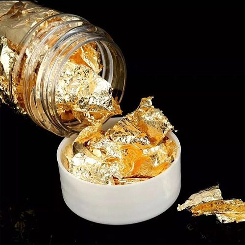 1PC Edible Grade Gold Leaf Schabin Flakes 24K Gold Dishes Dessert Cake Decorative Tool Birthday Party Wedding Cake Decoration