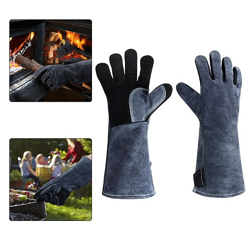 16inch BBQ Gloves Heat Fire Resistant Cow Leather Oven Welding Mitts with Long Sleeve anti-scald gloves Heat Glove