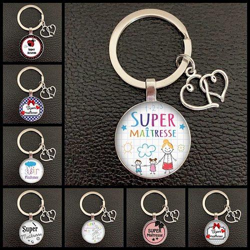 2020 / Teacher Thank You Text Keychain, Love Pendant Glass Pendant Keychain, High Quality Car Bag Keychain, Teacher's Day Gift