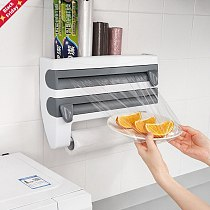 Kitchen Cling Film Tin Foil Paper Cutting Holder Kitchen Shelf Kitchen Organizer Plastic Wrap Sauce Bottle Storage Rack