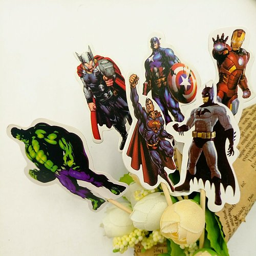 24pcs Avenger Cake Dessert topper Card Prod With Picture Cake Decoration Card Cupcake Picks Kid Birthday Party Decoration
