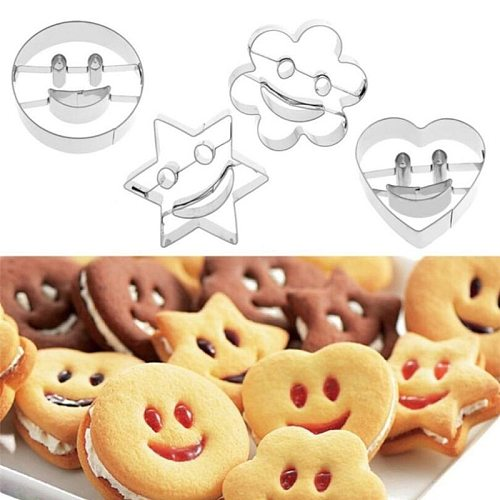 4PCS/Set Cookie Cutter Biscuit Mold Stainless Steel Smiley Type DIY Cookie Biscuit Mould Cake Baking Tools Kitchen Bakeware Mold