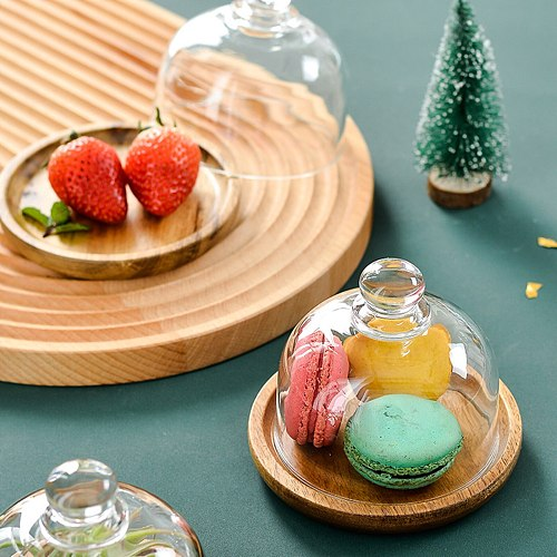 Hot Wooden Cake Stand with Glass Doom Cover Multi-Functional Serving Platter Cake Plate Salad Bowl PLD