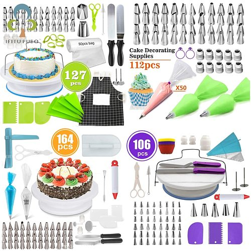 Cake Decorating Tools Pastry Nozzles Converter Cream Bag Turntable Scraper Icing Piping Tips Confectionery Baking Sets GYH