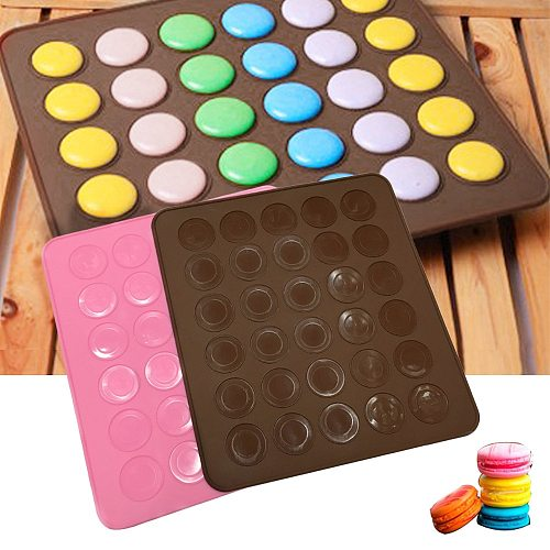 30 Hole Macaron Silicone Pad Baking Mat Round Shape Baking Pad DIY Cake Dessert Oven Liner Baking Tools For Cakes Pastry Tools
