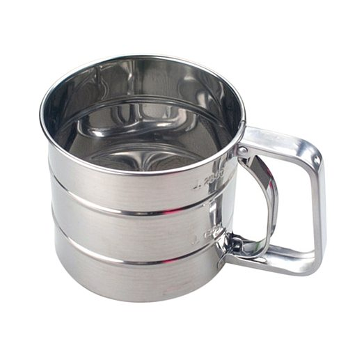 Stainless Steel Shaker Sieve Cup Mesh Crank Flour Sifter with Measuring Scale for Flour Icing Sugar