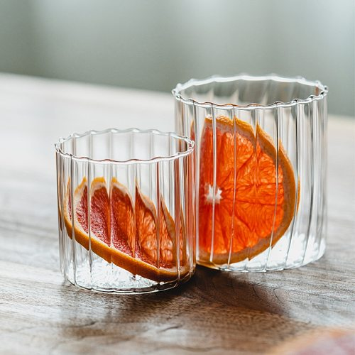 Water Bottle Glass Cups Vertical Stripe Glass Transparent Tea Coffee Mug Creative Fruit Juice Drinking Glass Cup Milk Bottle