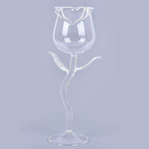 1Pc Wine Cocktail Glasses Home Wedding Party Barware Drinkware Gifts Creative Wine Glass Rose Flower Shape Goblet Lead-Free Red