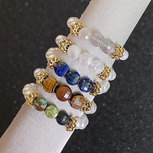 Momiji Multi Color Natural Stone Wedding Rings for Women All Handmade Elastic Rope Chain Pearls Moonstone Tigereye Beaded Rings