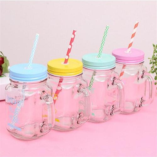 15oz Transparent Fruit Juice Cool Drink Glass Cup Mug Mason Jar Lemon Bottle With Cover Straw Sport Water Bottle