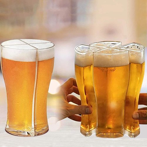 4 in 1 Acrylic Beer Glasses Mug Cup Separable 4 Part Large Capacity Thick Beer Glass Transparent for Club Bar Party