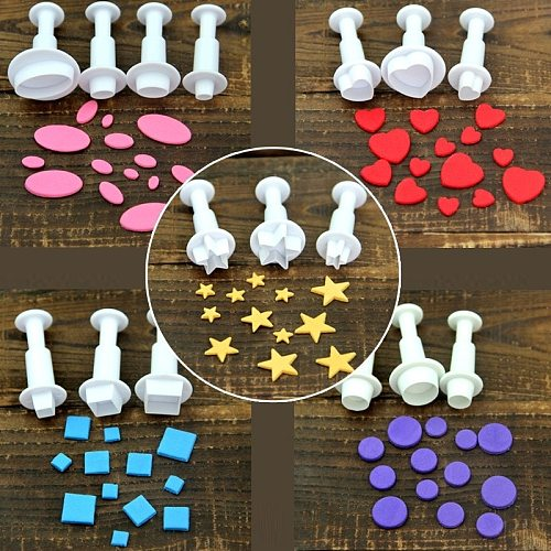 New Fondant Cookie Cake Cutter Ejector Stamp Plunger Cutters Embossed Mold Moulds DIY Kitchen Baking Cake Decorating Tools