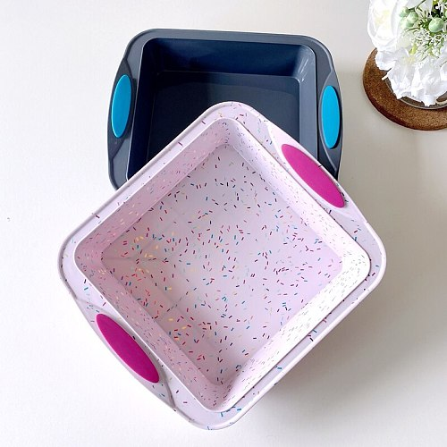 Square Cake Mold Silicon Baking Tool Cute Cakes Mold Baking Accessories Tools Molde Para Hornear Kitchen Dining Bar EA60HB