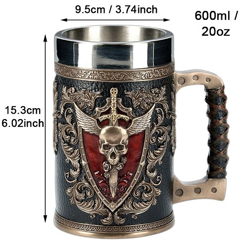 3D Beer Mugs Stein Tankard Double Headed Eagle Winged Sword And Shield Skull Crest Stainless Steel & Resin Coffee Cup Mug 600ml