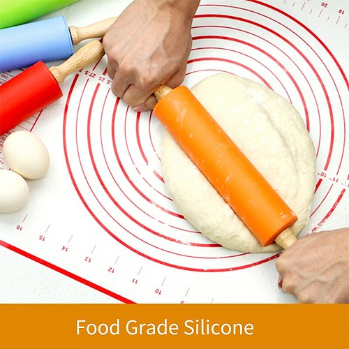 23/30/39cm Silicone Rolling Pin Non-Stick Pastry Dough Flour Roller Wooden Handle Pizza Pasta Roller Kitchen Pastry Baking Tool