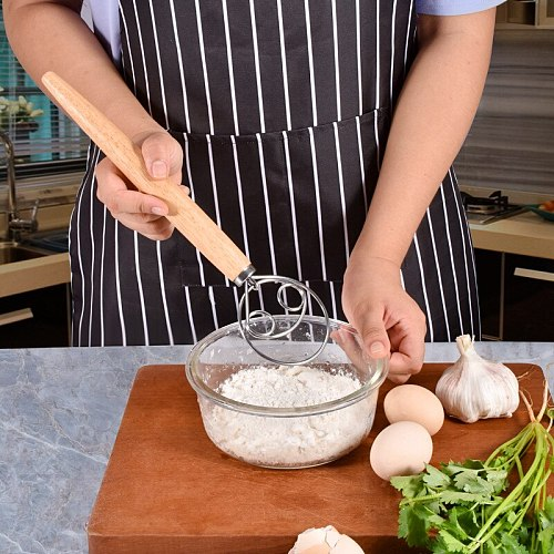 3-Style Stainless Steel Egg Hand Flour Coil Stirrer Mixer Wooden Handle Cream Kitchen Bread Dough Whisk Baking Pastry Tools