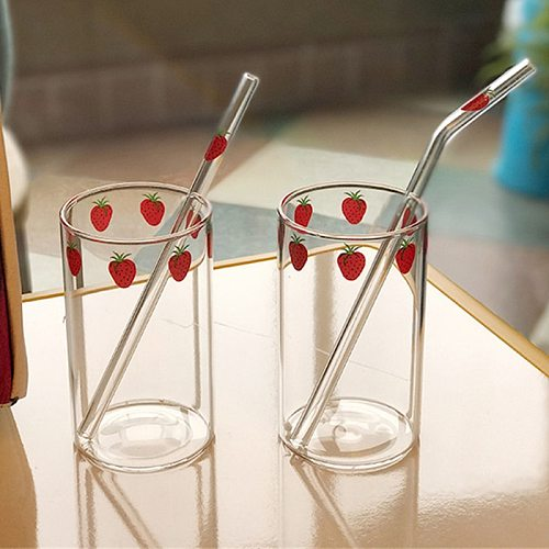 300ML Strawberry Cute Nordic Glass Cup Creative Transparent Water Cup Student Milk Heat Resistant Glass Home Party Drinking Cup