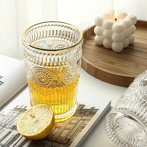 Vintage Roman Glass Cup Nordic Home Decor Wine Glasses Water Bottle Drinking Coffee Mug Living Room Table Decor Accessories
