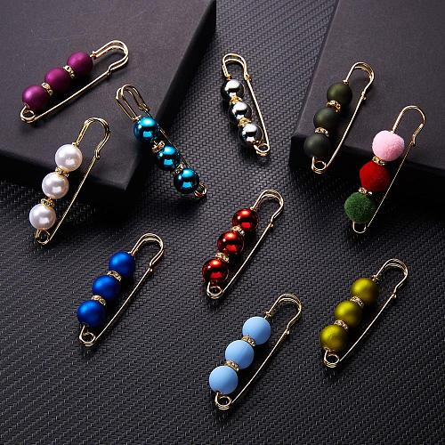 Classic Scrub Multi-color 3 Beads Pearl Rhinestone Big Pin Brooch Korean Style for Women Scarf Wearing Brooch Party Jewelry Gift