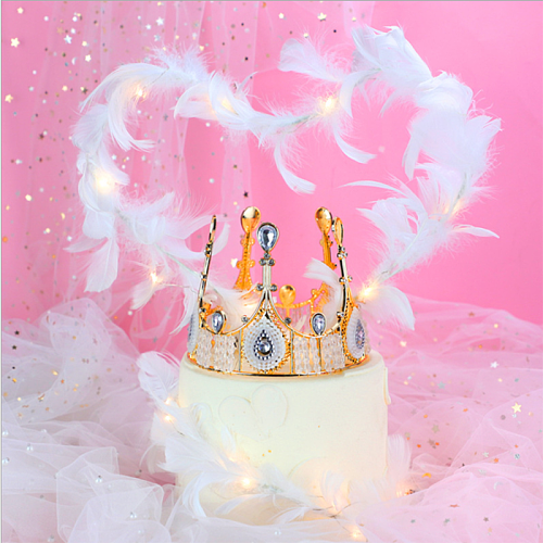 Bake Birthday Cake Decoration Feather Plug-in Romantic Goddess Queen Crown Decoration Dessert Table Dress Up