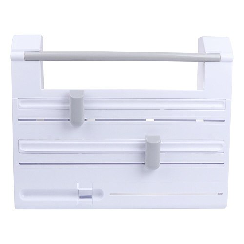 1pc Multi-function Kitchen Storage Rack Tin Foil Clingfilm Cutter Storage Rack Paper Towel Garbage Bag Rack (White)