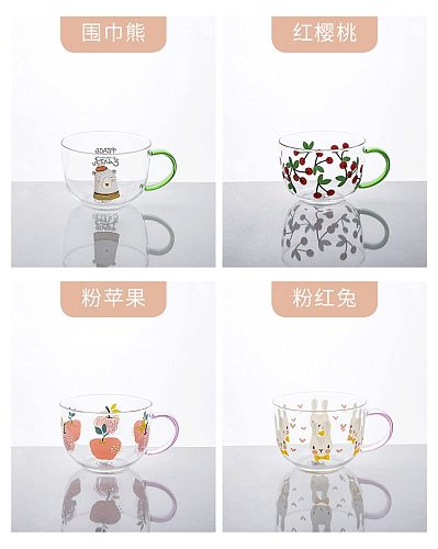 500ml With Handle Glass Mug Breakfast Milk Cup Cute Lady Child Water Office Home Coffee Mug Rabbit Apple Cherry Bear Pattern