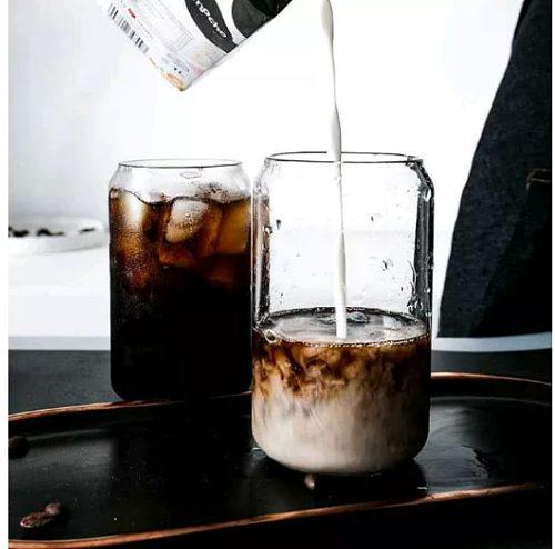 400ml/550ml Can Shape Glass Fashion Water Milk Juice Simple Juice Cup Beer Glass Shake GlassDessert Cup Cola Mug