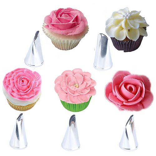 5 pcs Rose Petal Metal Cream Tips Cake Decorating Tools Steel Icing Piping Nozzles Cake Cream Decorating Cupcake Pastry Tool
