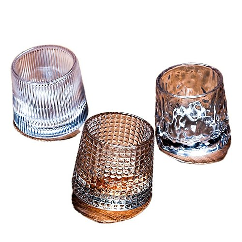 Free Shipping 2PCS Spinning Whisky Glass Whiskey Tumblers, Old Fashioned Scotch & Bourbon Glasses Set of 2