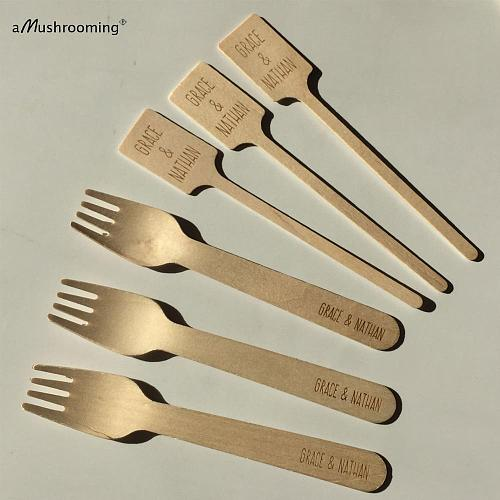 50pcs Disposable Cutlery Wedding Brides Grooms Table Serving Forks Cocktail Swizzle Stirrer Sticks with Name Wood Personalized