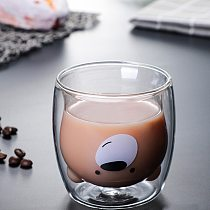 Lovely Glass Mugs Bear Cat Dog Animal Double-layer Tea Milk Coffee Cup With Round Mouth Prevent Scald Cartoon Christmas Gift#jj