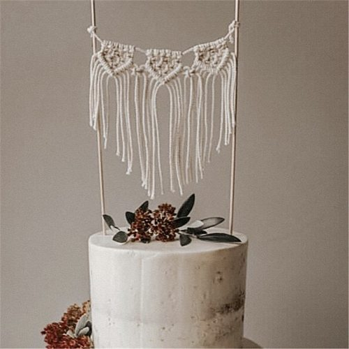 2021 Wedding Cake Topper Happy Birthday Handmade Macrame Cake decoration Dessert Decor Baby shower Party Festival Baking supply