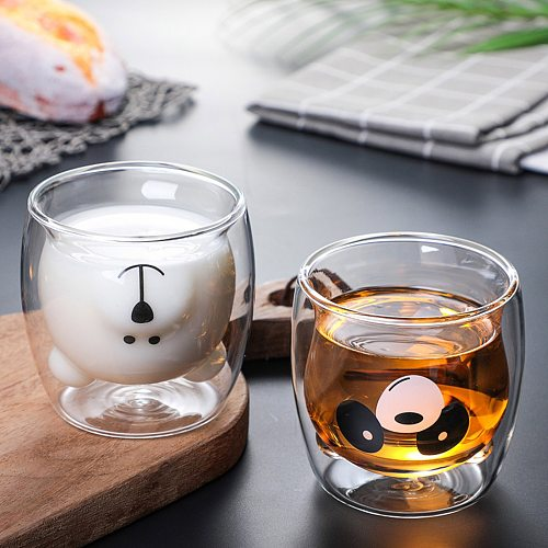 Cute Bear Shaped Double Wall Glass Mug Prevent Scald Cartoon Lovely Double Glass Milk Coffee Cup With Round Mouth Drinkware Gift