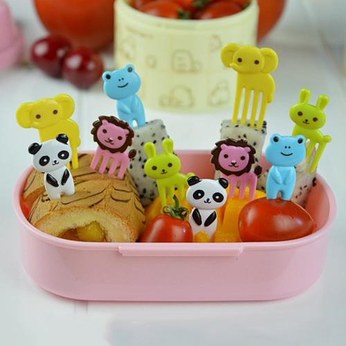 Mini Kids Animal Farm Fruit Fork Cartoon Snack Cake Dessert Food Fruit Toothpick Lunch Party Decoration Random Color
