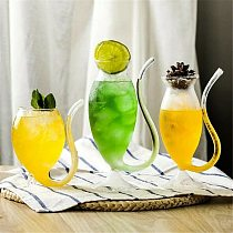 200/300/320ml Wine Whiskey Glass Heat Resistant Glass Sucking Juice Milk Cup Tea Wine Cup With Drinking Tube Straw