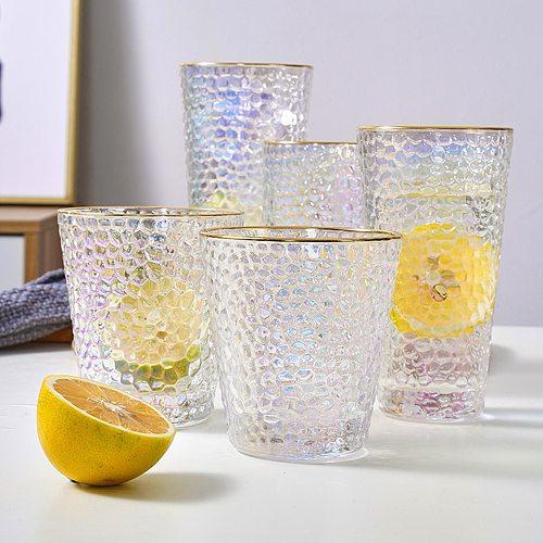 300/320/330/340/430ml Clear Gilding Calibre Water Milk Tumbler Glass Cup Mug