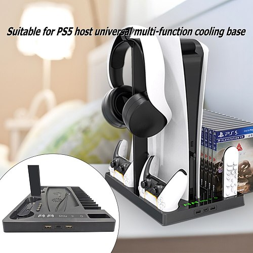 For PS5 Vertical Stand with Cooling Fan Base Dual Controller Charger Console Charging Station Fan Cooler For PS5 Support