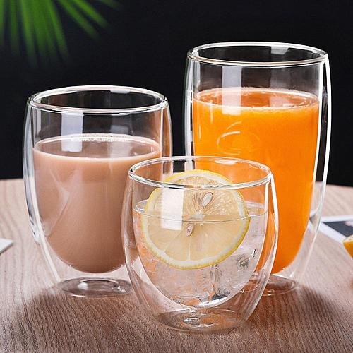 250/350/450ml Milk Coffee Double Layer Insulation Water Glass Cup Mug Drinkware Glass Mugs Double Wall Glass Mug Drinkware