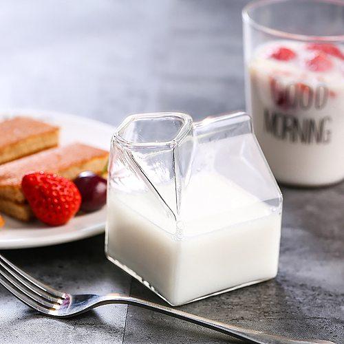 Cream Bottle Glass Mini Milk Cartoon Drawing Container Water Glass Square Transparent Glass Coffee Cups Milk Coffee Mug #42