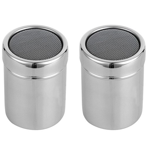 Hot Stainless Steel Chocolate Shaker Icing Sugar Powder Flour Powder Cocoa Coffee Sifter Shaker with Lid Home Coffee