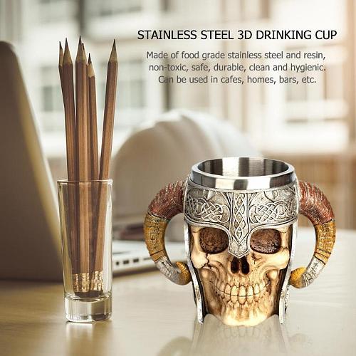 Stainless Steel Skull Mug Viking Coffee Cups Travel Viking Horn Tankard Halloween Decoration Skeleton Cup Beer Stein Man Gift