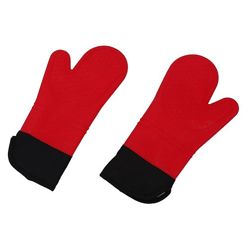 2pcs Red Silicone Kitchen Oven Mitt Glove Potholder with Extra Long Canvas Sleeve Stitching for Grilling and BBQ /barbecue Heat