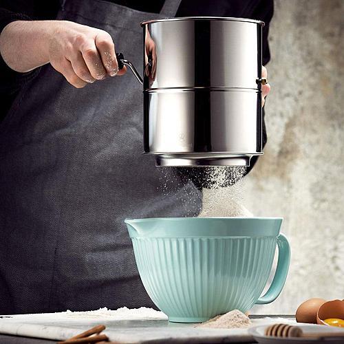 Stainless Steel Flour Sifter Hand Crank Baking Powdered Sugar Sieve Kitchen Tool Accessories Tools Gadget