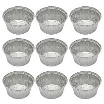 50Pcs 285ML Tin Foil Bowls Aluminum Foil Round Disposable BBQ Tray Pie Pans for Homemade Cakes Pies without Lid