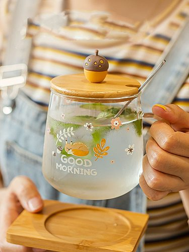 squirrel Cup Double Glass Coffee Mug Cartoon Cute squirrel Milk Juice Cup Home Office Cafe Tazas Best Gift for Festival