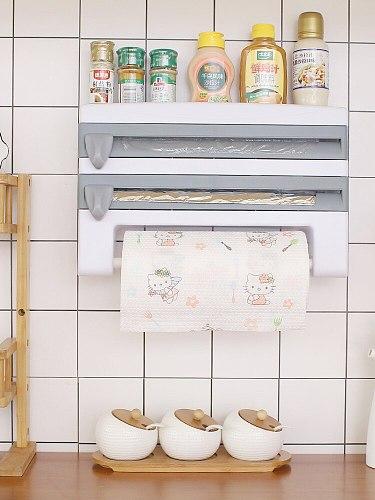 Organizer for Kitchen 4 in1 Wall-Mount Paper Towel Holder Sauce Bottle Storage Film Cutter Tin Foil Rack Kitchen Organization