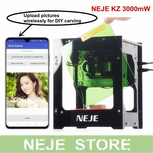 NEJE KZ 3000mW laser Engraver 445nm Wood Router Desktop Laser Printer Cutting Machine with NEJE Scanner Wireless DIY Creation