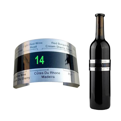 Fashion Creative Stainless Steel Wine Bottle Thermometer Sensor in 15 second LCD Thermometer Beer Red Wine Bracelet Temperature