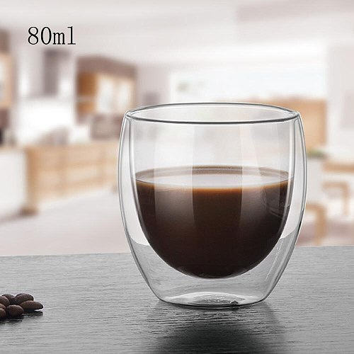 80ML Double-layer Cup Heat Resistant Transparent Glass Coffee Juice Cup Handmade Beer Mug Tea Whiskey Glass Household Drink Cup